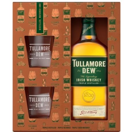 Viskis Tullamore Dew (dėž. + 2 stikl) 0,7 L