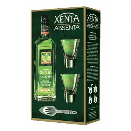 Absentas Xenta Absenta (dėžutė su 2 taur. ir šaukšteliu) 0.7 L